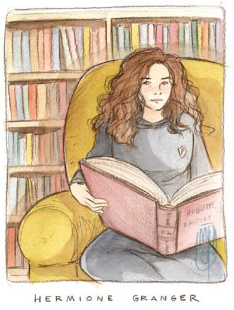 Hermione in the Gryffindor common room, copyright Marta T.